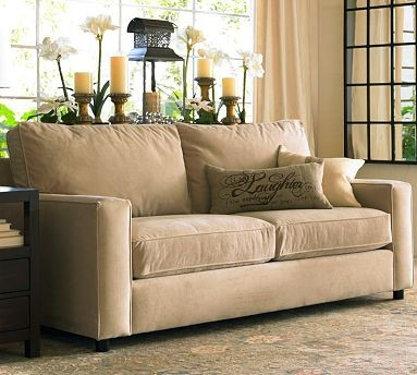 Good PB Comfort Square Upholstered Sofa | Pottery Barn Living Room