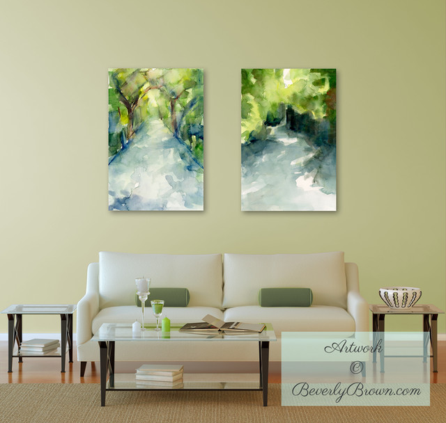 Peaceful Living Room With Landscape Art Prints Contemporary Living Room