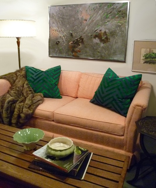 Peach/Kelly green eclectic-living-room