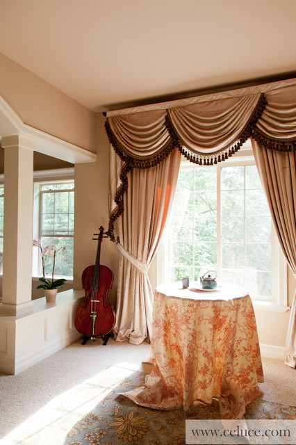 Pearl dahlia swag valance window treatment by for Traditional window treatments living room