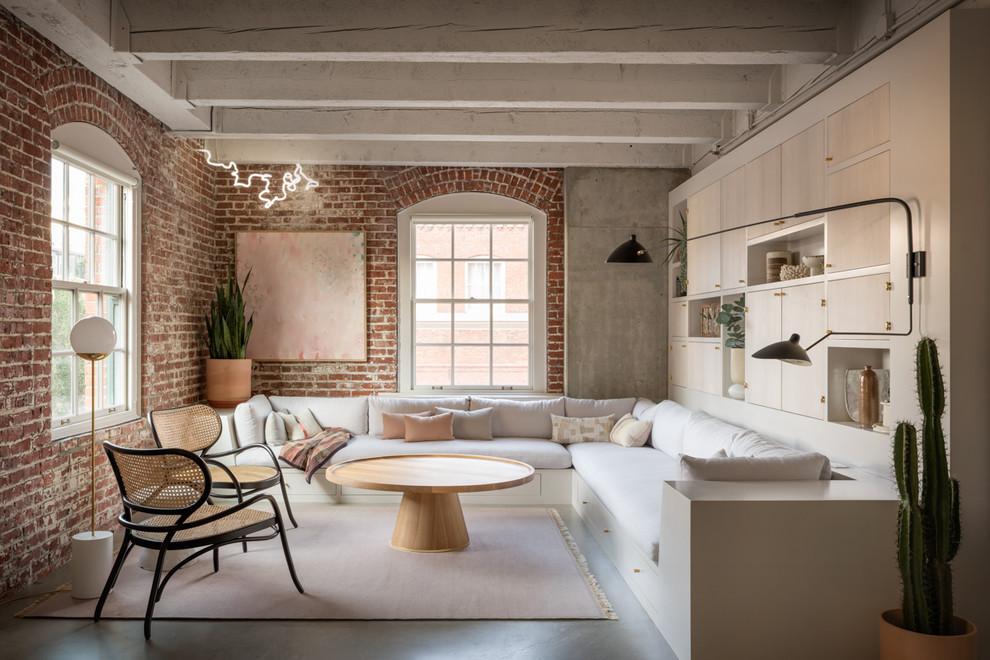 Living room - industrial concrete floor living room idea in Portland