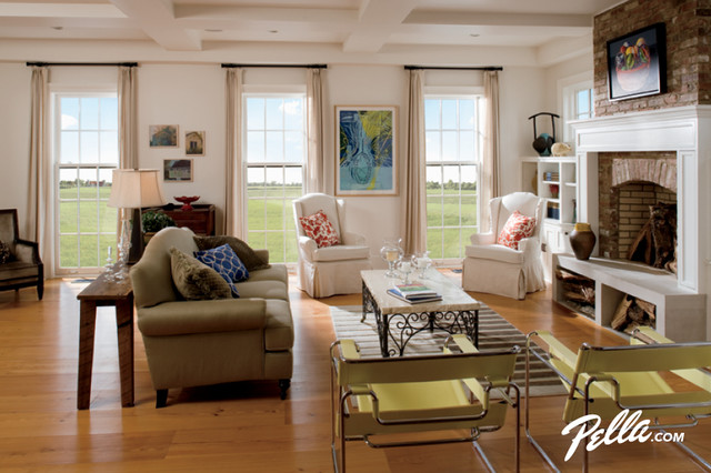 Pella® Architect Series® double-hung windows add natural light, style traditional-living-room