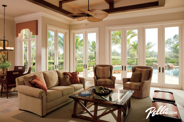 Pella® Architect Series® Hinged Patio Doors Accent Distinctive Designs  Traditional Living Room