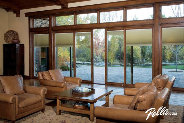 pella designer series sliding patio door provides design flexibility contemporary living room cedar rapids by pella windows and doors - Pella Sliding Patio Doors