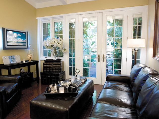 Pella designer series windows and patio doors with for Living room designs with french doors