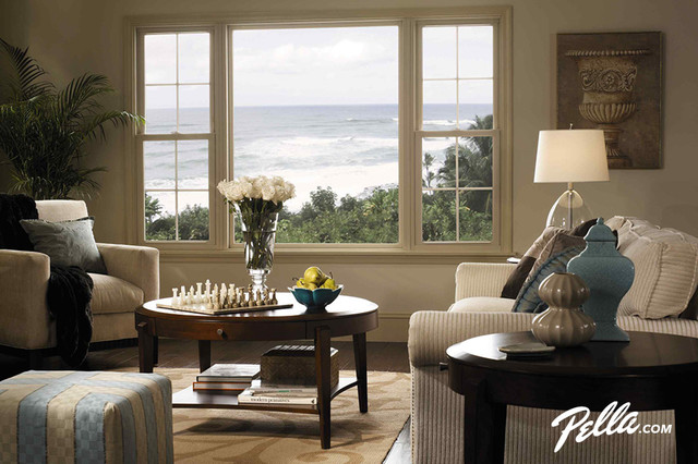 Pella® ThermaStar® vinyl double-hung windows - Contemporary - Living ...
