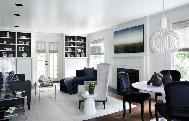 navy and white living room. Inspiration for a timeless living room remodel in Austin with white walls White And Navy Living Room  Houzz