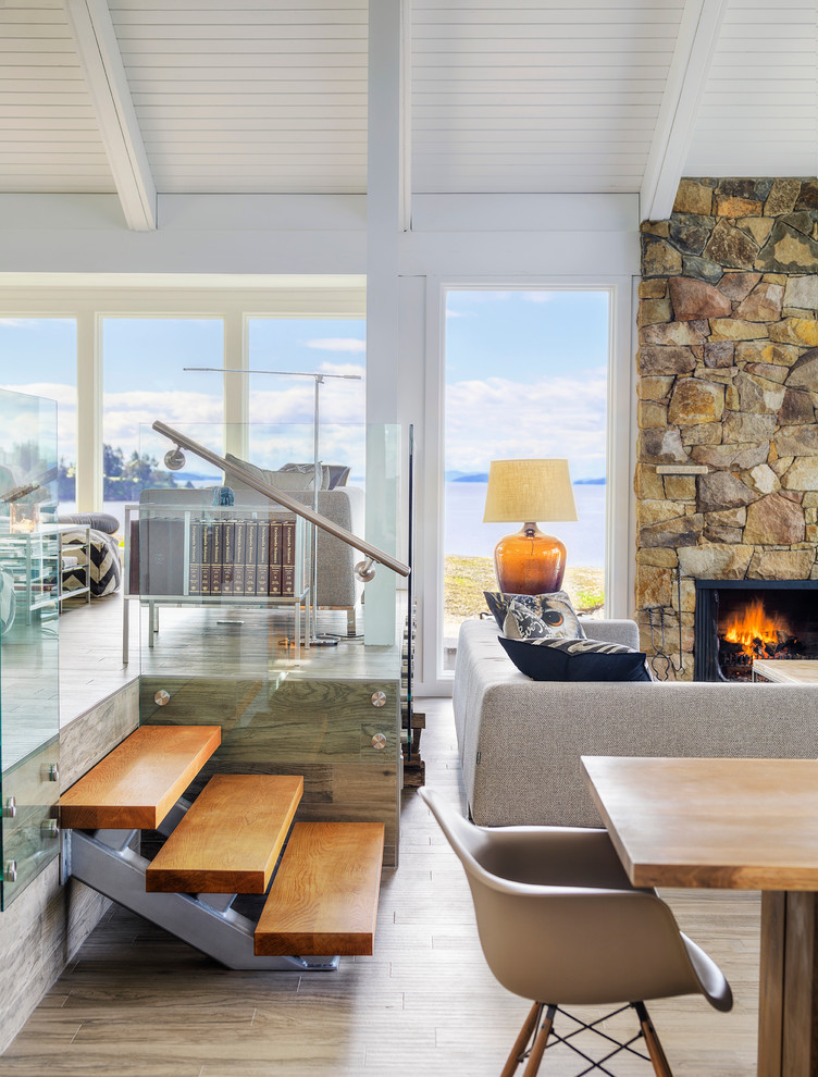 Beach style living room photo in Vancouver