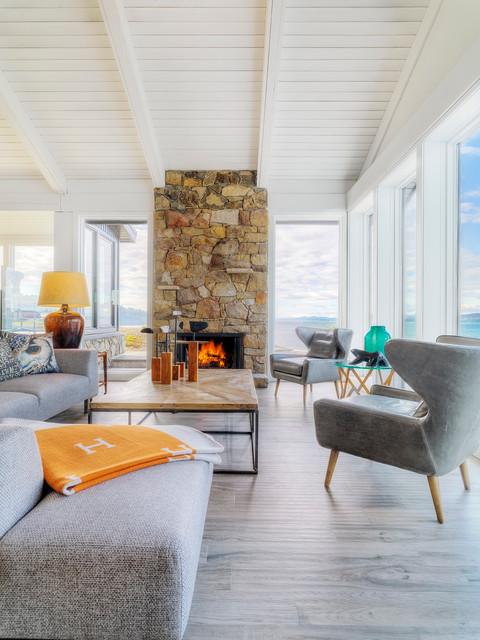 Pender Island Retreat Beach Style Living Room