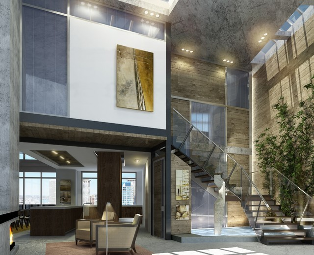 Penthouse entry contemporary-living-room