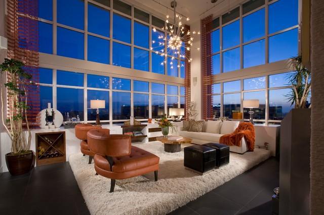 cool modern luxury penthouse living room | penthouse - Modern - Living Room - Orange County - by ...