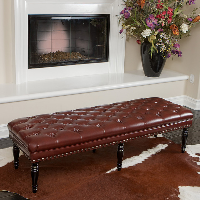 Peoria tufted leather bench modern living room los for Modern living room bench