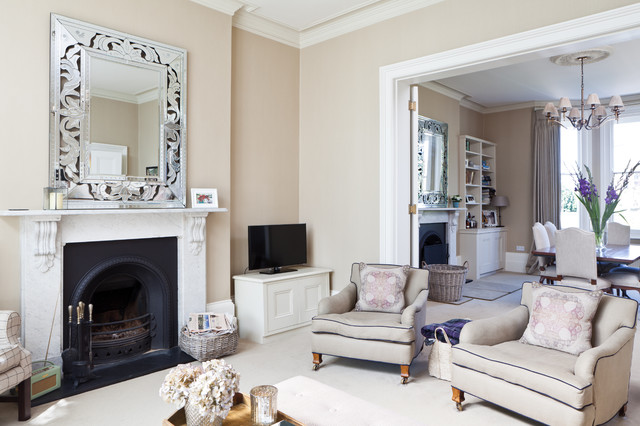 Good Living Room   Victorian Formal And Open Concept Carpeted Living Room Idea  In Kent With Beige