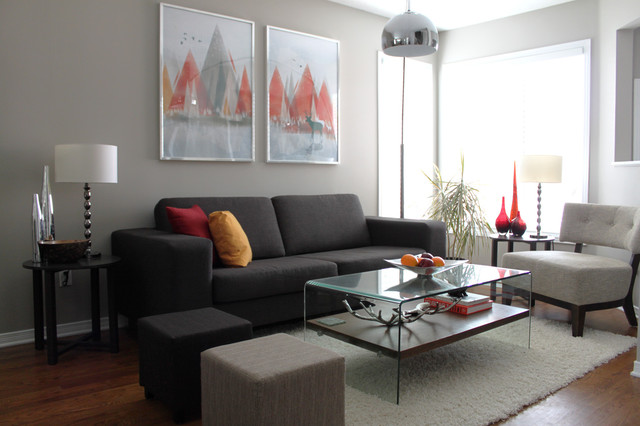 grey paint living room. Inspiration for a mid sized contemporary living room remodel in Ottawa Thunder Af 685 Paint  Houzz