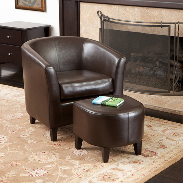 Sensational Petaluma Brown Leather Club Chair And Ottoman Modern Dailytribune Chair Design For Home Dailytribuneorg