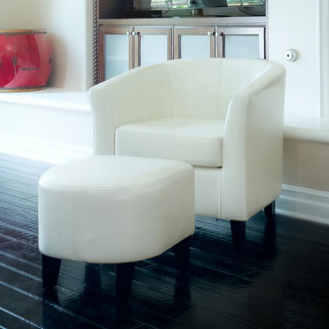 Petaluma Ivory Leather Club Chair And Ottoman Combo Modern Living Room