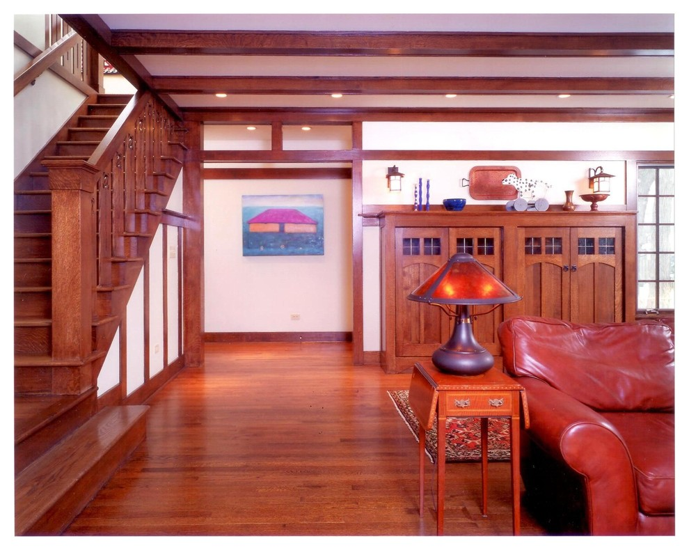 Living room - craftsman living room idea in Chicago