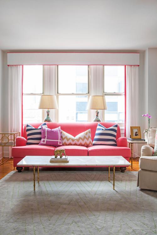 【Houzz】ソファで考える、大人っぽくハイセンスなピンクの使い方 5番目の画像