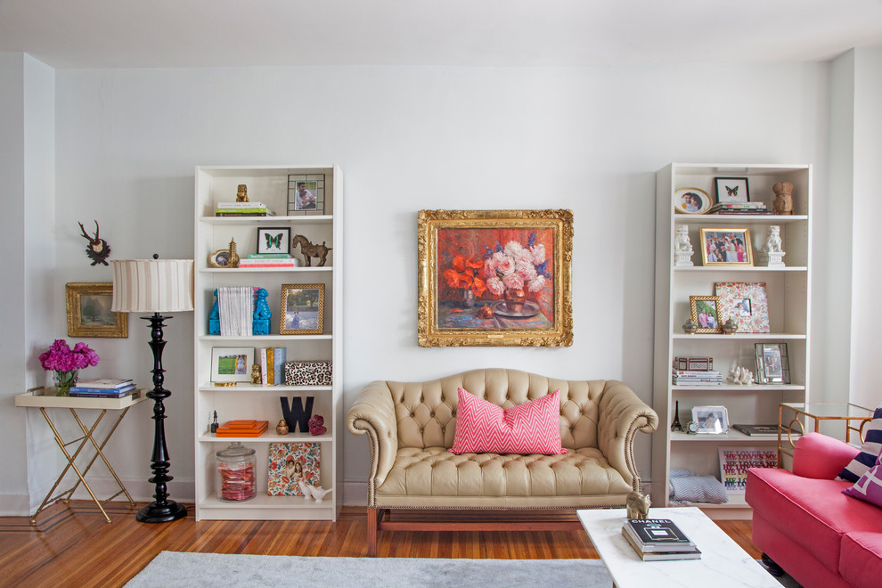 Inspiration for an eclectic living room remodel in Philadelphia with white walls