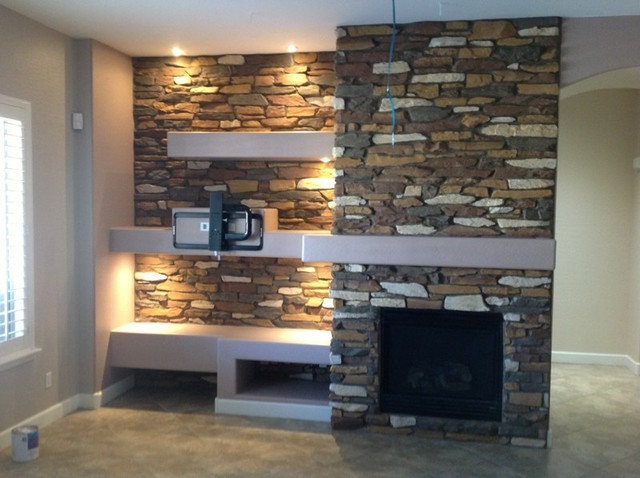 Phoenix custom media walls niches traditional living for Drywall designs living room