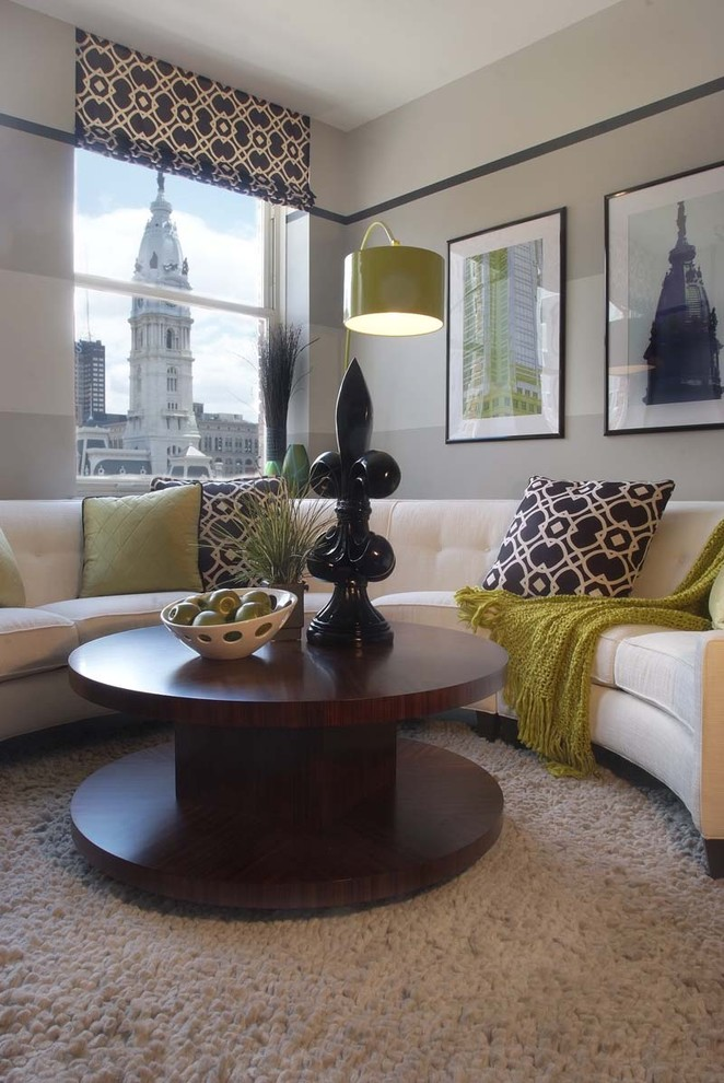 Trendy living room photo in Philadelphia with gray walls