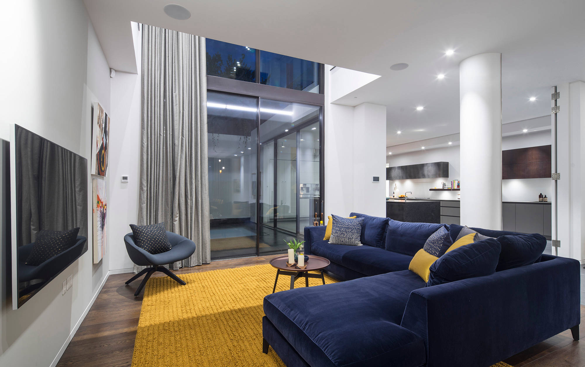 modern blue and yellow living room  yellow and blue