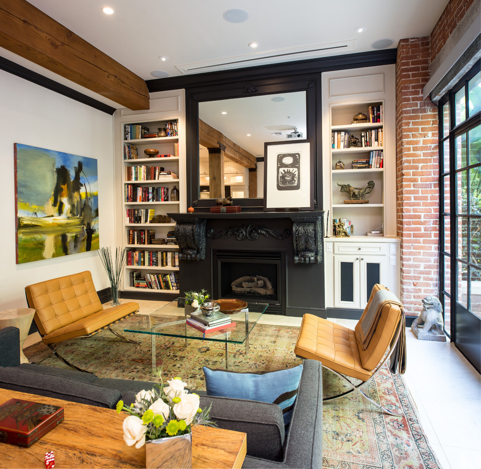 Living room - contemporary formal and enclosed living room idea in San Diego with white walls and a standard fireplace