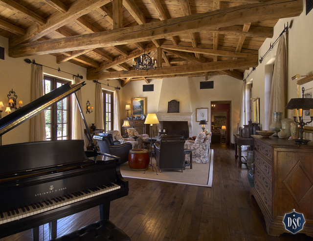 Piano  in Great Room mediterranean living room