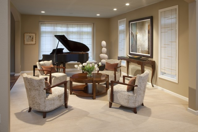 Piano room contemporary living room milwaukee by for Grand piano in living room