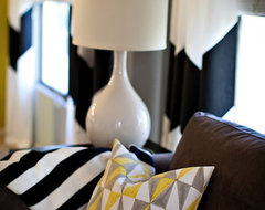 Pillows and Chevron Curtains eclectic living room