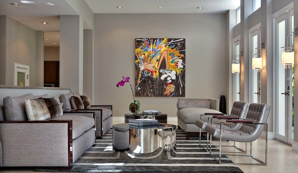 Living room - large contemporary formal and enclosed ceramic tile living room idea in Miami with gray walls, no fireplace and no tv