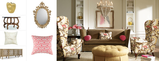 Pink And Gold Contemporary Living Room Milwaukee By Silver Nest