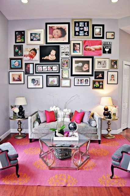 Pink Living Room Design: Pink Living And Dining Room