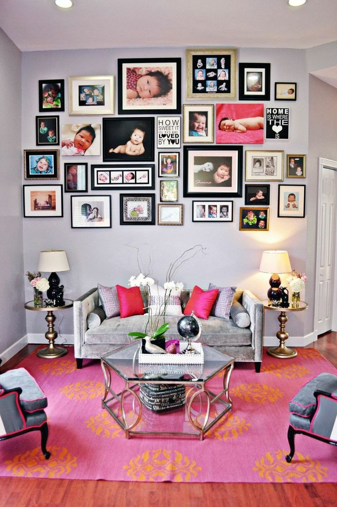 Example of a trendy living room design in Miami with gray walls