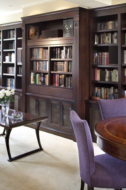 Pivoting TV turning into bookcase traditional-living-room - Pivoting TV Turning Into Bookcase - Traditional - Living Room