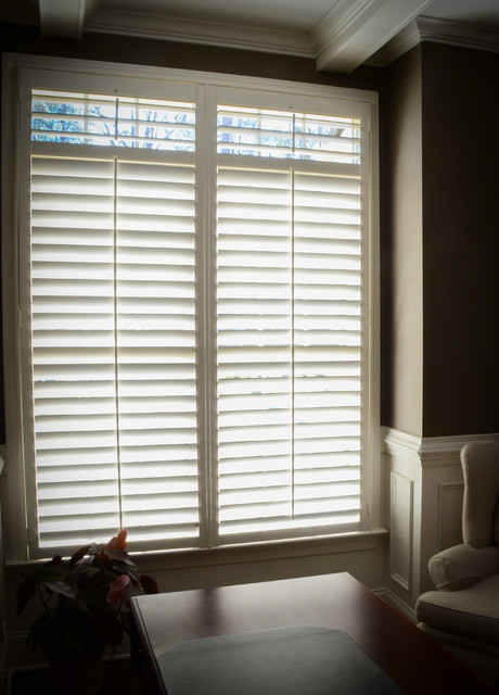 Plantation shutters window coverings transitional - Houzz window treatments living room ...