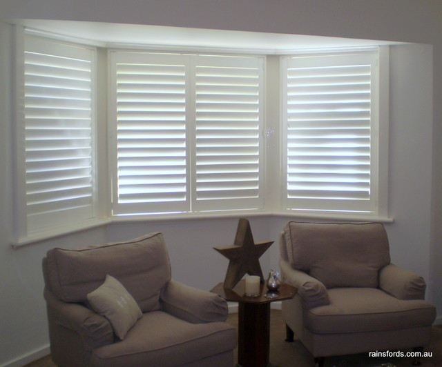 Plantation shutters in a beautiful erindale home in for Modern curtains and blinds