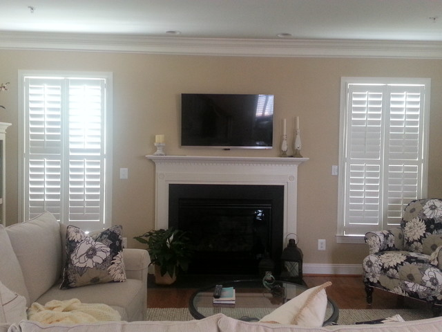 fun ideas for outdoor family pictures - Plantation Shutters in family room Traditional Living