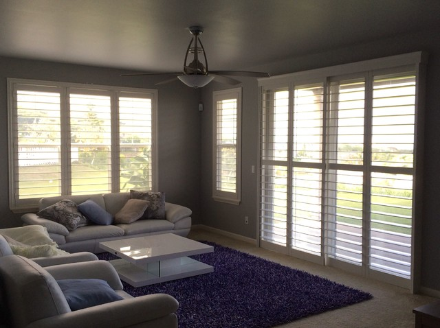 Plantation Shutters beach-style-living-room