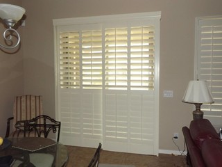 Plantation Shutters on sliding glass doors - Traditional - Living Room - phoenix - by The Louver ...