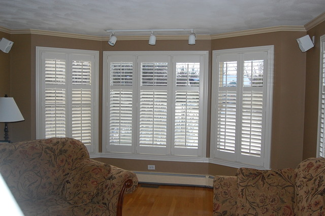 Plantation Shutters Traditional Living Room Boston