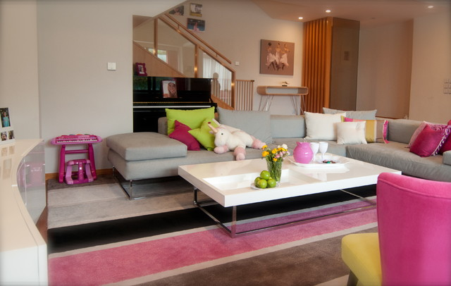 Playfull pink poolside playroom contemporary living for Playroom living room ideas