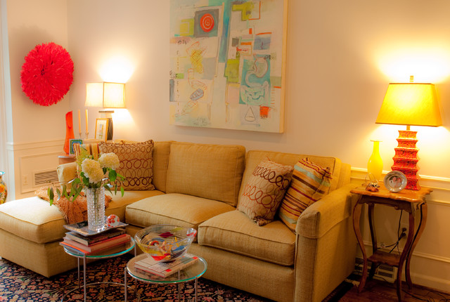 Plush And Colorful Urban Living Room Eclectic Living