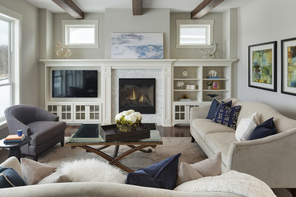 Living room - mid-sized transitional open concept dark wood floor living room idea in Minneapolis with gray walls, a standard fireplace, a tile fireplace and a media wall