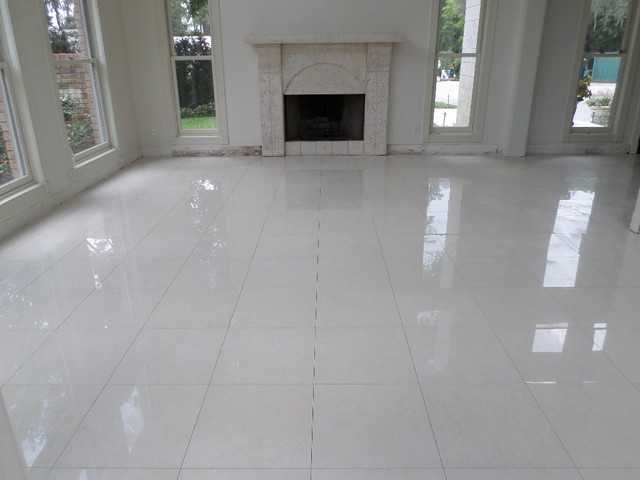Polished Porcelain, 24u0026quot;x24u0026quot; Tile with a 1/8u0026quot; Grout Line - Modern - Living Room - tampa - by ...