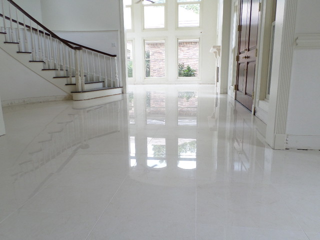 Polished Porcelain 24x24 Tile With A 18 Grout Line Modern Living Room Tampa By