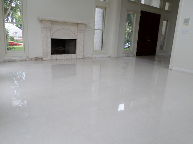 Polished Porcelain 24 X24 Tile With A 1 8 Grout Line Modern Living Room Tampa By