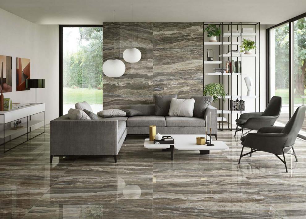 polished porcelain tile floor  contemporary  living room