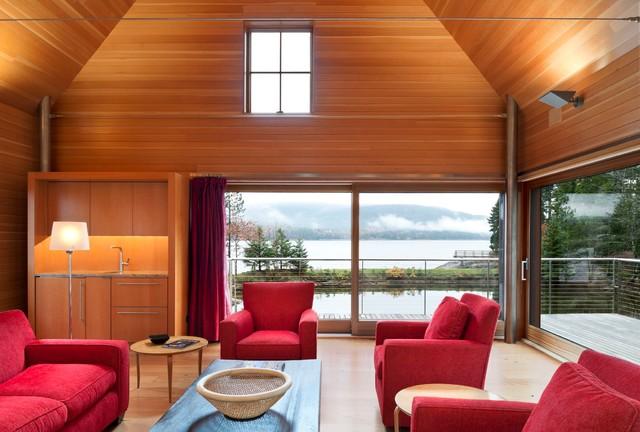 Pond House Contemporary Living Room Portland Maine