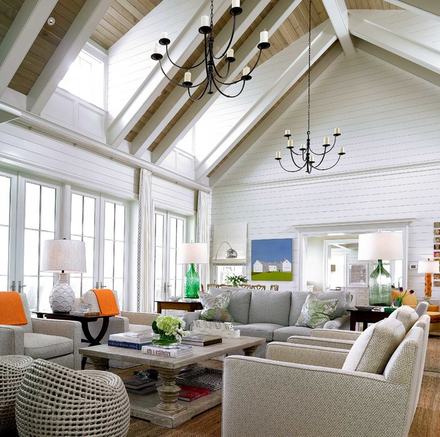 Ponte vedra oceanfront beach style living room for Beach look interior design
